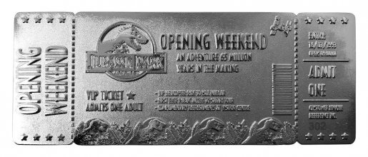 Jurassic Park Replica Opening Weekend VIP Ticket (silver plated)