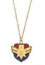 Captain Marvel Stainless Steel Pendant with Chain Logo