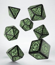 Celtic 3D Revised Dice Set black & green (7)