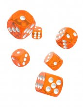Oakie Doakie Kostky D6 Dice 16 mm Translucent - Orange (12)
