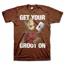 Guardians Of The Galaxy T-Shirt Rocket & Groot brown