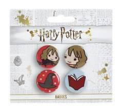 Harry Potter Cutie Button Badge 4-Pack Hermione & Sorting Hat &