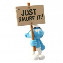 The Smurfs Collector Collection Socha Smurf wit a Sign Just Smu