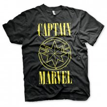 Captain Marvel tričko Yellow Grunge Logo