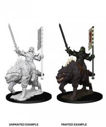 Pathfinder Battles Deep Cuts Unpainted Miniature Orc on Dire Wol