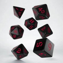 Classic RPG Runic Dice Set black & red (7)