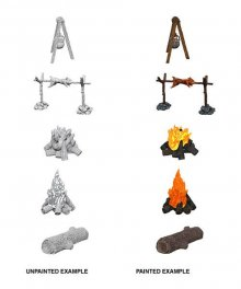 WizKids Deep Cuts Unpainted Miniature Camp Fire & Sitting Log Ca