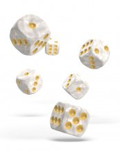 Oakie Doakie Kostky D6 Dice 16 mm Marble - White (12)