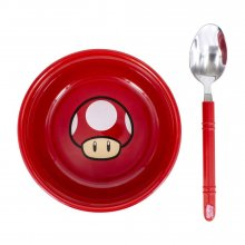 Super Mario snídaňová sada miska with spoon Power-Up Mushroom