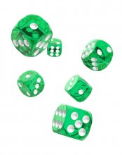 Oakie Doakie Kostky D6 Dice 16 mm Translucent - Green (12)
