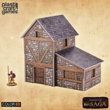 SAGA ColorED Miniature Gaming Model Kit 28 mm Two-Story Medieval