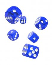 Oakie Doakie Kostky D6 Dice 16 mm Translucent - Blue (12)