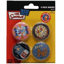 Simpsonovi odznaky The Simpsons Duff Beer 4-pack placky