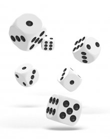 Oakie Doakie Kostky D6 Dice 16 mm Solid - White (12)