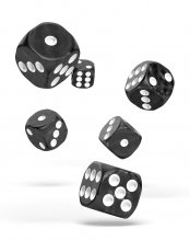 Oakie Doakie Kostky D6 Dice 16 mm Marble - Black (12)