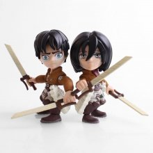 Attack on Titan Action Figure 2-Pack Eren & Mikasa (Crying) SDCC