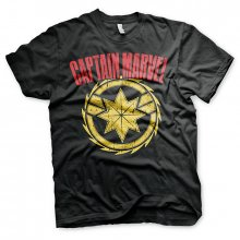 Captain Marvel tričko Distressed Logo