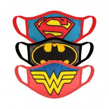 Justice League Face Masks 3-Pack Core