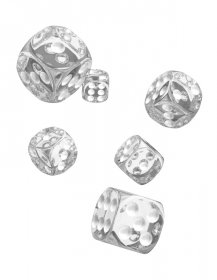 Oakie Doakie Kostky D6 Dice 16 mm Translucent - Clear (12)