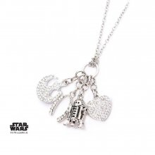 Star Wars Stainless Steel Pendant with Chain R2-D2 Multi Charm