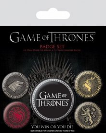 Game Of Thrones sada odznaků 5-Pack Great Houses