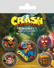 Crash Bandicoot sada odznaků 5-Pack Pop Out