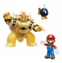 World of Nintendo Akční figurka 3-Pack Mario vs. Bowser Lava Bat