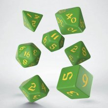 Classic RPG Runic Dice Set green & yellow (7)