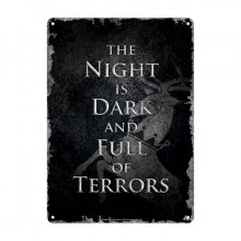 Game of Thrones kovová tabulka Night Dark 21 x 15 cm