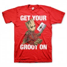 Guardians Of The Galaxy T-Shirt Rocket & Groot red