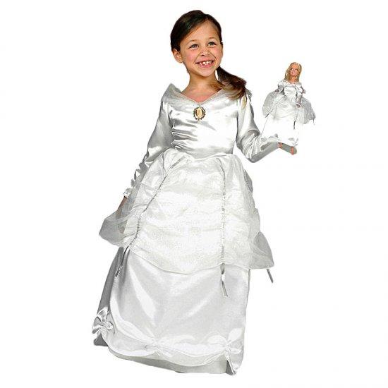 Dětský karnevalový kostým Barbie bílý plus šaty pro panenku